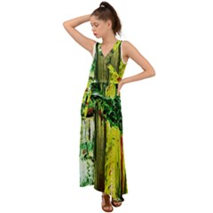 Old Tree And House With An Arch 8 V-neck Chiffon Maxi Dress