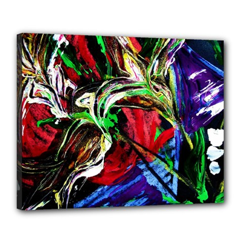 Lillies In The Terracotta Vase 3 Canvas 20  X 16  (stretched) by bestdesignintheworld