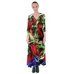Lillies In The Terracotta Vase 3 Button Up Maxi Dress