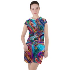 Seamless Abstract Colorful Tile Drawstring Hooded Dress by HermanTelo