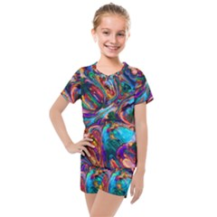 Seamless Abstract Colorful Tile Kids  Mesh Tee And Shorts Set