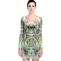 Fractal Delicate White Background Long Sleeve Bodycon Dress