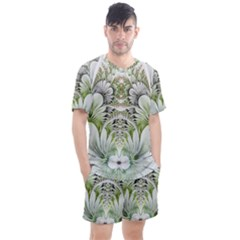 Fractal Delicate White Background Men s Mesh Tee And Shorts Set