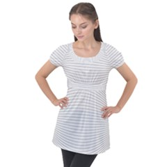 Pattern Background Monochrome Puff Sleeve Tunic Top