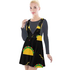 Festive Seamless Pattern With National Taco Food Plunge Pinafore Velour Dress