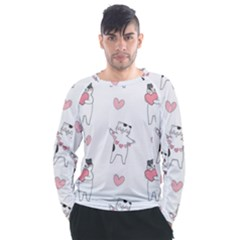 Seamless Pattern Cute Cat With Little Heart Hearts Men s Long Sleeve Raglan Tee