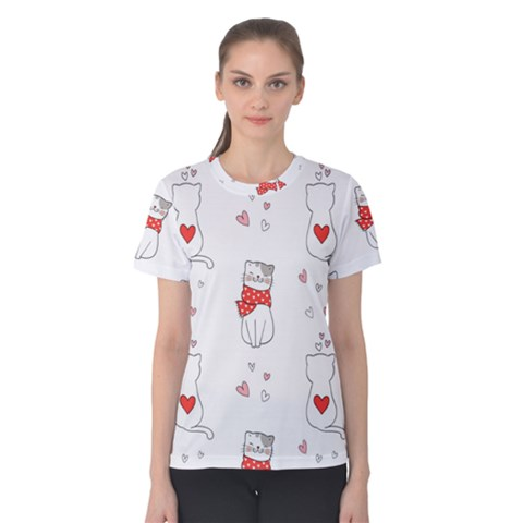 Seamless Pattern Cute Cat With Little Heart Women s Cotton Tee by Wegoenart
