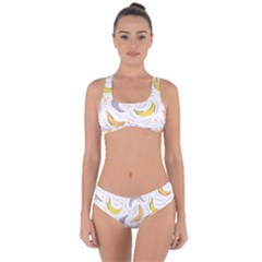 Seamless Stylish Pattern With Fresh Yellow Bananas Background Criss Cross Bikini Set by Wegoenart