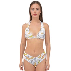 Seamless Stylish Pattern With Fresh Yellow Bananas Background Double Strap Halter Bikini Set by Wegoenart
