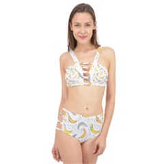 Seamless Stylish Pattern With Fresh Yellow Bananas Background Cage Up Bikini Set by Wegoenart