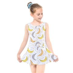 Seamless Stylish Pattern With Fresh Yellow Bananas Background Kids  Skater Dress Swimsuit by Wegoenart