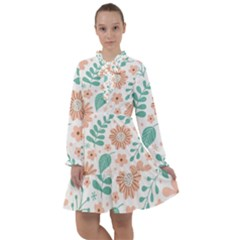 Pattern With Flowers Leaves All Frills Chiffon Dress