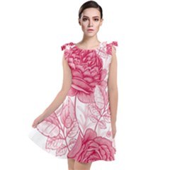 Flower Seamless Pattern With Roses Tie Up Tunic Dress