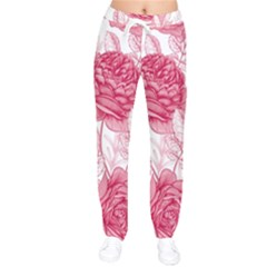 Flower Seamless Pattern With Roses Women Velvet Drawstring Pants
