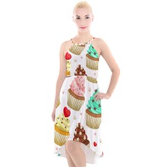 Seamless Pattern Yummy Colored Cupcakes High-low Halter Chiffon Dress