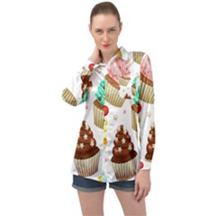 Seamless Pattern Yummy Colored Cupcakes Long Sleeve Satin Shirt