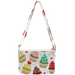 Seamless Pattern Yummy Colored Cupcakes Double Gusset Crossbody Bag