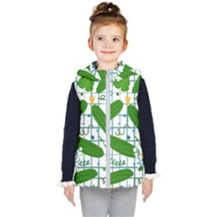 Seamless Pattern With Cucumber Kids  Hooded Puffer Vest by Wegoenart