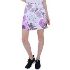 Seamless Pattern With Flowers Roses Peonies Hydrangeas Carnations Tennis Skirt