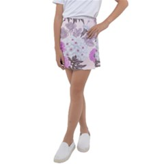 Seamless Pattern With Flowers Roses Peonies Hydrangeas Carnations Kids  Tennis Skirt