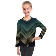 Abstract Colorful Geometric Lines Pattern Background Kids  Long Mesh Tee