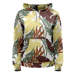 Botanical Seamless Tropical Pattern With Bright Red Green Plants Leaves Women s Pullover Hoodie by Wegoenart
