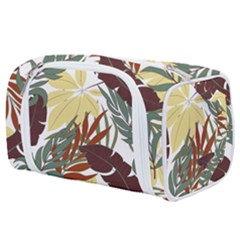 Botanical Seamless Tropical Pattern With Bright Red Green Plants Leaves Toiletries Pouch