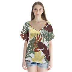 Botanical Seamless Tropical Pattern With Bright Red Green Plants Leaves V-neck Flutter Sleeve Top by Wegoenart