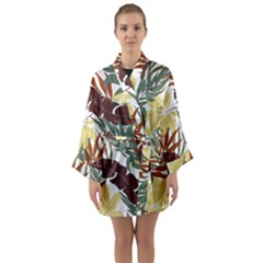 Botanical Seamless Tropical Pattern With Bright Red Green Plants Leaves Long Sleeve Satin Kimono by Wegoenart