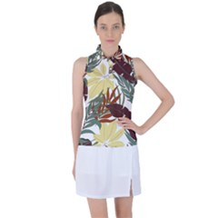 Botanical Seamless Tropical Pattern With Bright Red Green Plants Leaves Women s Sleeveless Polo Tee