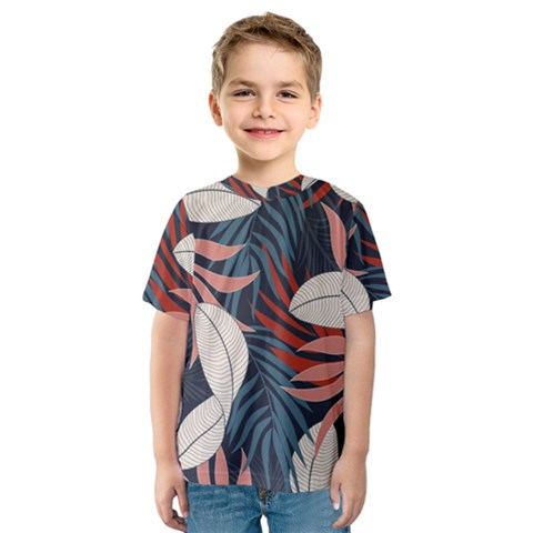 Fashionable Seamless Tropical Pattern With Bright Red Blue Flowers Kids  Sport Mesh Tee by Wegoenart