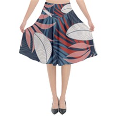 Fashionable Seamless Tropical Pattern With Bright Red Blue Flowers Flared Midi Skirt by Wegoenart