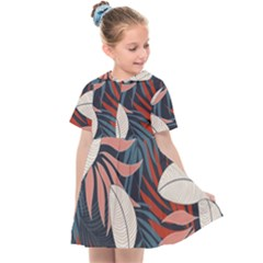 Fashionable Seamless Tropical Pattern With Bright Red Blue Flowers Kids  Sailor Dress by Wegoenart