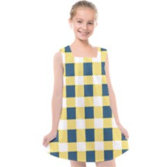 Diagonal Checkered Plaid Seamless Pattern Kids  Cross Back Dress by Wegoenart