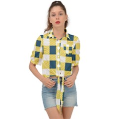 Diagonal Checkered Plaid Seamless Pattern Tie Front Shirt