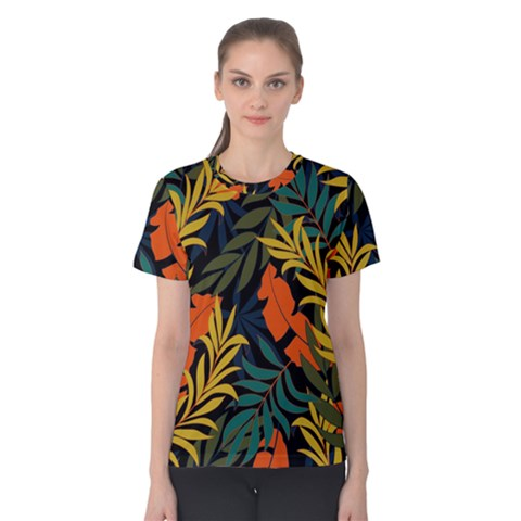 Fashionable Seamless Tropical Pattern With Bright Green Blue Plants Leaves Women s Cotton Tee by Wegoenart