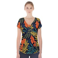 Fashionable Seamless Tropical Pattern With Bright Green Blue Plants Leaves Short Sleeve Front Detail Top by Wegoenart