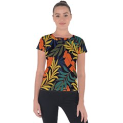 Fashionable Seamless Tropical Pattern With Bright Green Blue Plants Leaves Short Sleeve Sports Top  by Wegoenart