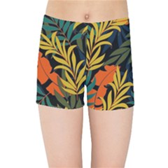 Fashionable Seamless Tropical Pattern With Bright Green Blue Plants Leaves Kids  Sports Shorts