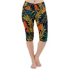 Fashionable Seamless Tropical Pattern With Bright Green Blue Plants Leaves Lightweight Velour Cropped Yoga Leggings