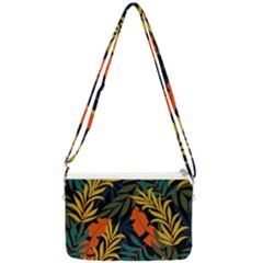 Fashionable Seamless Tropical Pattern With Bright Green Blue Plants Leaves Double Gusset Crossbody Bag by Wegoenart
