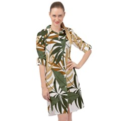 Botanical Seamless Tropical Pattern With Bright Green Yellow Plants Leaves Long Sleeve Mini Shirt Dress