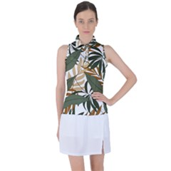 Botanical Seamless Tropical Pattern With Bright Green Yellow Plants Leaves Women s Sleeveless Polo Tee
