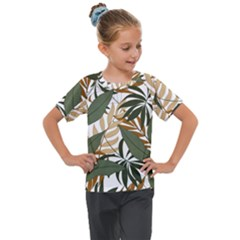 Botanical Seamless Tropical Pattern With Bright Green Yellow Plants Leaves Kids  Mesh Piece Tee