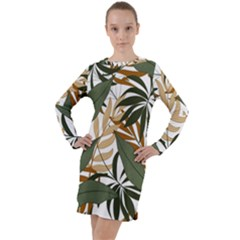 Botanical Seamless Tropical Pattern With Bright Green Yellow Plants Leaves Long Sleeve Hoodie Dress by Wegoenart