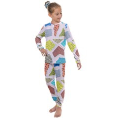 Pattern With Pieces Paper Kids  Long Sleeve Set