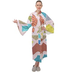 Pattern With Pieces Paper Maxi Velour Kimono