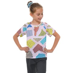Pattern With Pieces Paper Kids  Mesh Piece Tee