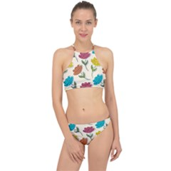 Pattern With Paper Tulips Racer Front Bikini Set
