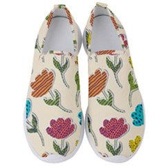 Pattern With Paper Tulips Men s Slip On Sneakers